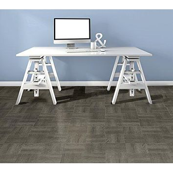 Ben&Jonah Collection Tivoli Charcoal Grey Wood 12x12 Self Adhesive Vinyl Floor Tile - 45 Tiles/45 sq Ft.