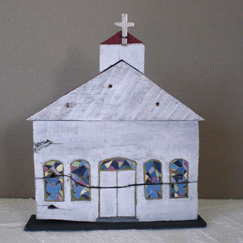 Wooden White Church Hand Painted Reclaimed Wood
