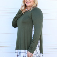 Only The Best Plaid Accented Tunic With Pockets ~ Olive ~ Sizes 12-18