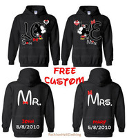FREE CUSTOM Kissing Love Couple Mr and Mrs Matching Couples Sweatshirt Hoodie Disney Matching Couple Sweatshirts Sweater Mickey and Minnie