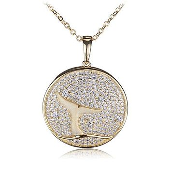 Sterling Silver Yellow Gold Plated Pave Cubic Zirconia Whale Tail in Circle Pendant(Chain Sold Separately)