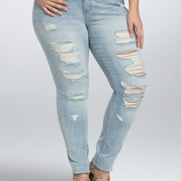 Torrid Skinny Jean - Light Wash with Ripped Destruction (Short)