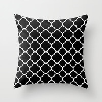 Velveteen Black Quatrefoil Pillow - Black and White Throw Pillow - Housewares - Home Decor