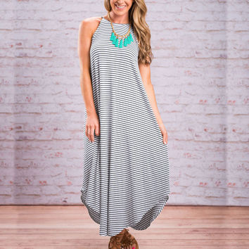 Scoop Sleeveless Striped Strap Loose Casual Long Dress