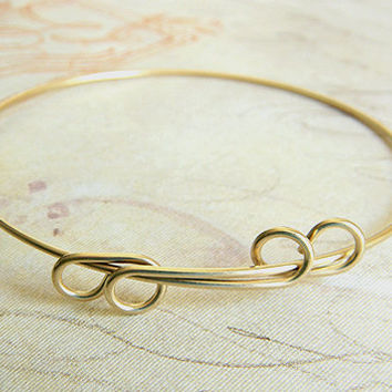 Raw Brass Adjustable Bangle Bracelet, Expandable Bracelet, Charm Bracelet 65mm- 1 pc.