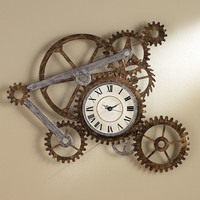 Industrial Gear Wall Clock (Brown)