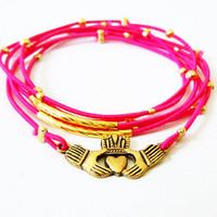 Claddagh Bracelet Set (Gold and Hot Pink)