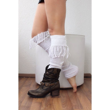 Leg Warmers with tassel, legging. Yoga. Boot cuffs, white legwarmers, sock