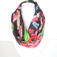 Feather Print Scarf, Bold Infinity Scarf, Printed Scarf, Mulitcolor Scarf, Tropical Scarf, Colorful scarf