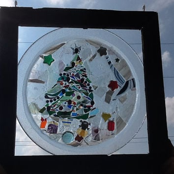 Stained Glass The Night Before Christmas Window Art Sun Catcher Barnwood Frame