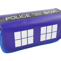 Dr Mysterious Pen Bag Purse Blue Box Big Capacity Double  Zipper Pencil Case Stationery PU Leather Doctor Who Cosmetic Bag