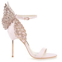 women high heels sexy sandals rhinestone stereoscopic butterfly party shoes