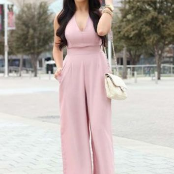 LOVE Nude Cross Back Crepe Jumpsuit