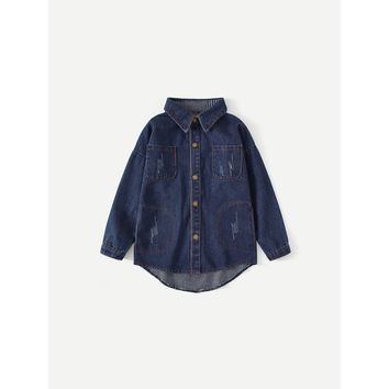 Kids Letter Print Back Denim Jacket