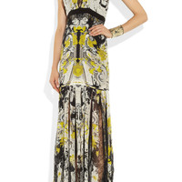 Roberto Cavalli | Printed silk-chiffon and lace gown | NET-A-PORTER.COM