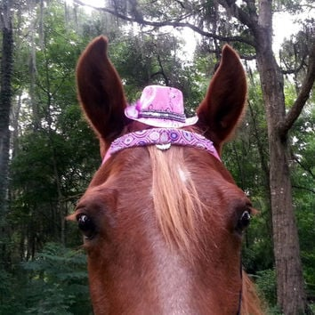 Pink Paisley Fascinator / Mini Fedora Hat for Horse with Feathers - Equine Tack Retro Sixties
