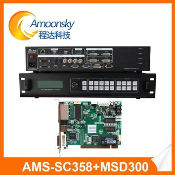 11 Channels digital-analog video input sc358 4k ultra hd full color led display video processor with 1 pc nova msd 300 card