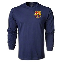 FC Barcelona Licensed Crest Long Sleeve T-Shirt - Navy || SOCCER.COM