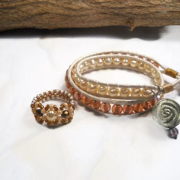 Wrap Bracelet and Beaded Ring Set