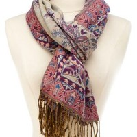 Paisley Pattern Woven Fringe Scarf by Charlotte Russe - Multi
