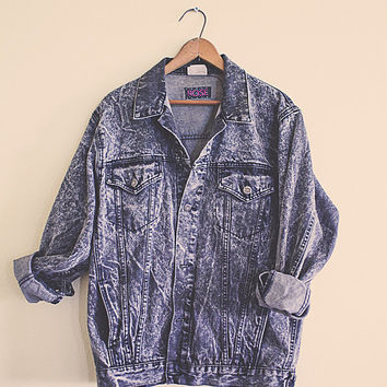 Jean Jacket Black Denim Stone Washed Acid Washed Coat Women's Size Small Rocker Hipster Jeancoat