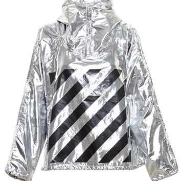 Hooded Metallic Windbreaker - OFF WHITE