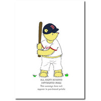 Children's Art Print Teddy Bear Boston Redsox Baseball 8 x 10