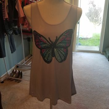 Butterfly Sequin Tank Top