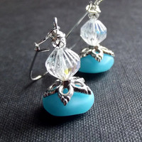Ocean Blue Drop Earrings: Blue Opal Sea Glass and Silver Sparkle Dangle Earrings, Beach Jewelry
