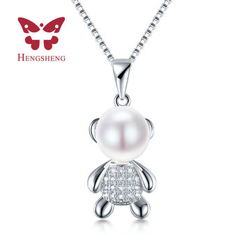 HENGSHENG Lover little bear pendant necklace with 8-9mm natural pearl fashion jewelry for women girl gift