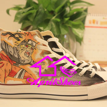 Cool Naruto Converse, Custom Naruto Sneakers, Naruto Uzumaki  Hand Painted Shoes High Top with for Naruto Fans, Special Shoes