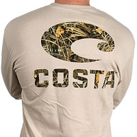 Realtree Max-4 Camo Long Sleeve Logo Tee in Tan by Costa Del Mar