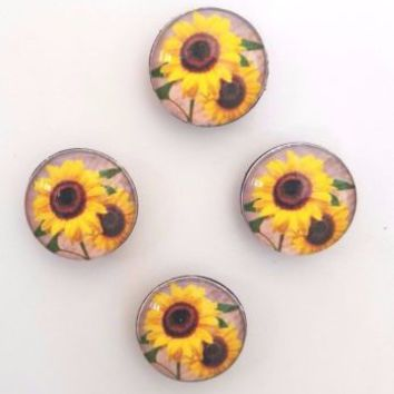 Set of 4 Glass Sunflower Refrigerator Magnets Spring Summer Kitchen Home Decor