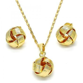 Gold Layered 10.63.0515 Earring and Pendant Adult Set, Love Knot Design, Polished Finish, Golden Tone