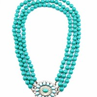 Blue Oversize Beaded 3 Layers Necklace