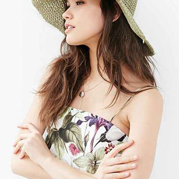 Relaxed High/Low Straw Hat