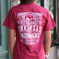 University of Arkansas Column Tee {Chili}