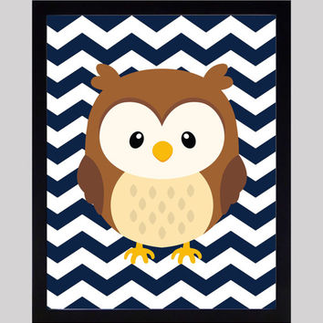 Cute Owl on Navy Chevron Print Nursery Decor Baby Print Animals Art CUSTOMIZE YOUR COLORS 8x10 Prints Nursery Decor Art Baby Room Decor Kids