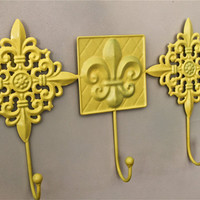Decorative Yellow 3 Hook Hanger fleur de lis by AquaXpressions