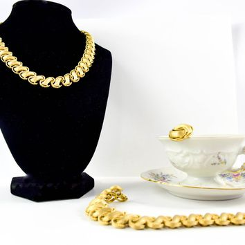 Vintage Trifari - Trifari Jewelry Set  - Vintage Choker - 1960's Necklace - Earrings and Bracelet - Gold Tone - Gift for Her
