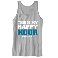 This is My Happy Hour #iworkout Unisex Tank Top - For Gym Time - Great Motivation