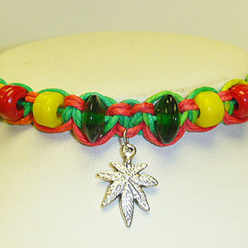 Rasta Ganja Love Hemp Bracelet Pot Leaf  Macrame  guys  girls handmade