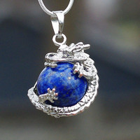 Lapis Lazuli Healing Stone Dragon Pendant Necklace on a Sterling Silver Chain
