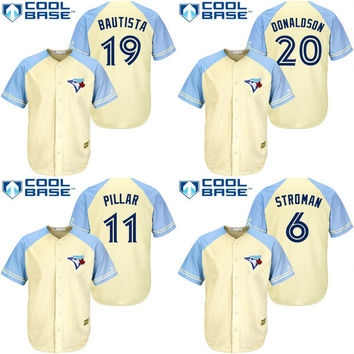 2017 flexbase Cream 20 Donaldson Stroman Jose Bautista Pillar Jersey Men's Toronto Blue Jays Exclusive Vintage Cool Base stitched