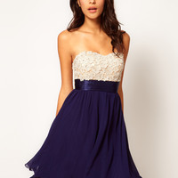 Little Mistress Floral Applique Prom Dress at asos.com