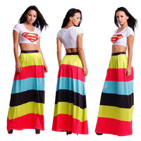 Printed White Crop Top and Multi-Colored Maxi Skirts