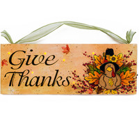 Give Thanks Thanksgiving Lighted Sign Canvas Wall Art Print