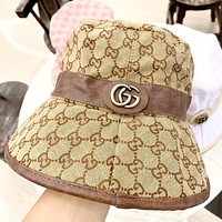 GUCCI 2019 new leather edging high-end fisherman hat Khaki