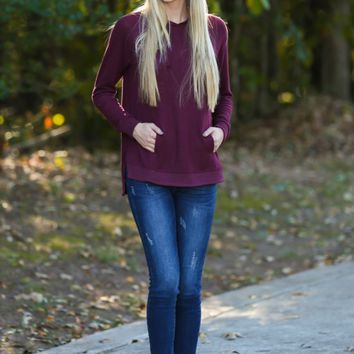 Z Supply Marled Pullover In Sangria