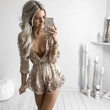 2017 Newest Women Ladies Clubwear Playsuit Champagne gold sequined floral skirt cloth Siamese pants with gold rope